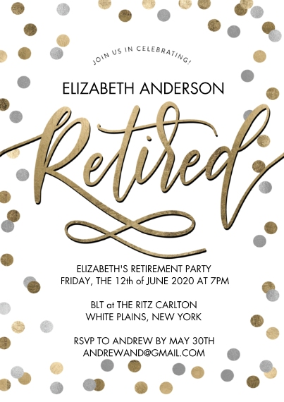 Retirement Cards 5x7 Cards, Standard Cardstock 85lb, Card & Stationery -Retirement Party Confetti