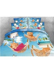 Lovely Kittens Lying in Hammock Print 5-Piece Comforter Sets