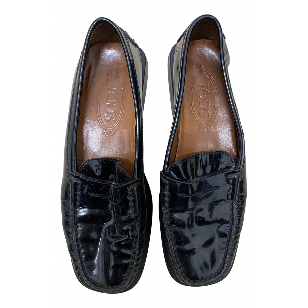 Tod's Gommino Black Leather Flats for Women 38.5 EU