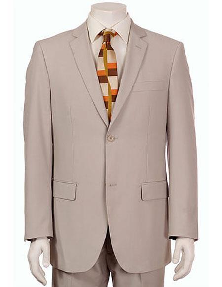 Men's Vitali Single Breasted Authentic 2 Button Khaki Slim Fit Suit
