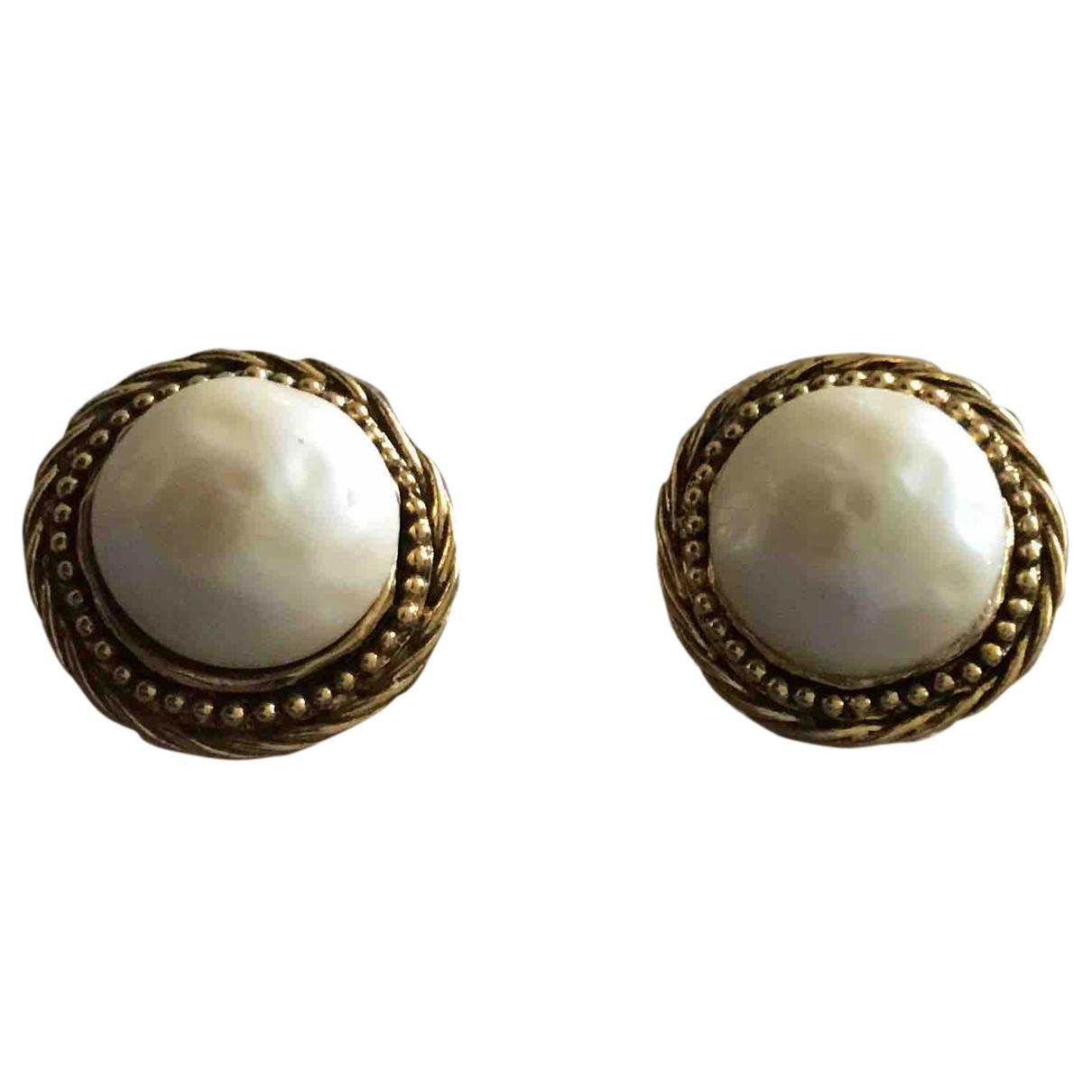 Chanel - Boucles doreilles Gripoix pour femme en plaque or - beige