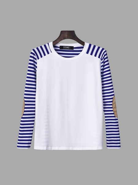 Yoins Stripe Pattern Patch Design Long Sleeve Casual T-shirt