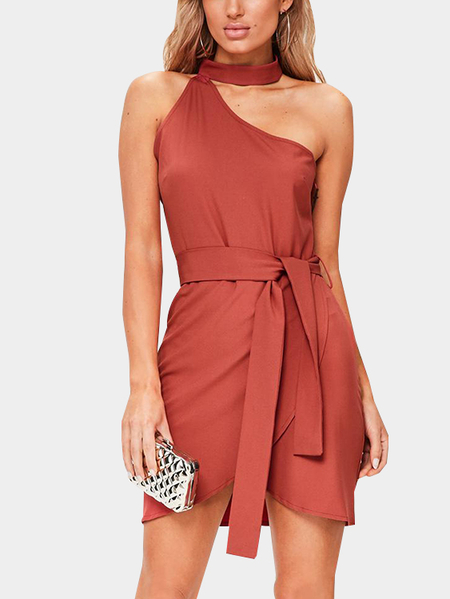 Yoins Crimson One Shoulder Sleeveless Dress with Choker
