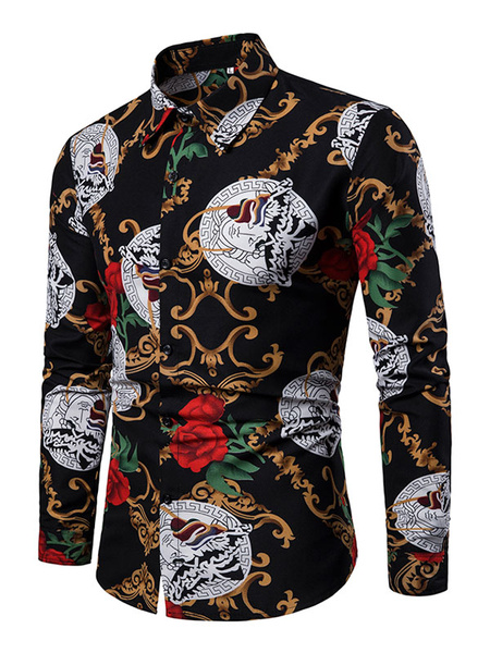 Milanoo Black Men Shirt Print Button Down Slim Fit Long Sleeve Shirt