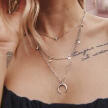 Halskette mit Mond & Stern Anhaenger und mehrschichtigen Ketten 1 Stueck