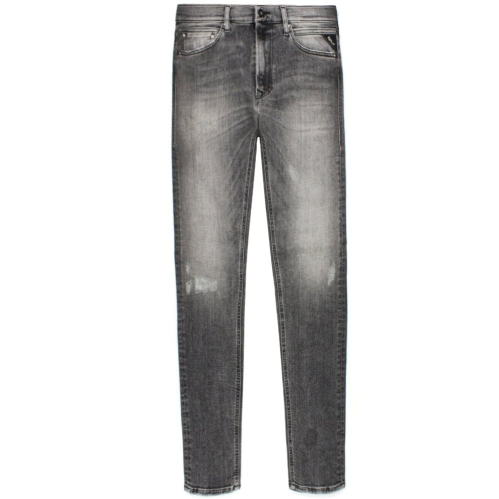 Replay Anbass Aged 10 Distressed Jeans Colour: GREY, Size: 36 30