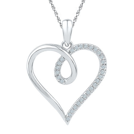 Womens 1/8 CT. T.W. Genuine White Diamond 10K Gold Heart Pendant Necklace, One Size , No Color Family