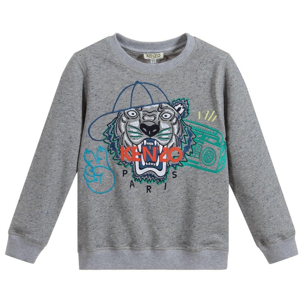 Kenzo Kids Tiger Sweatshirt Colour: GREY, Size: 8 YEARS