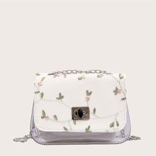 Bolsa bandolera con bordado floral