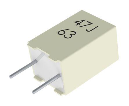 KEMET 220nF Polyester Capacitor PET 40 V ac, 63 V dc ±5%, Through Hole (10)