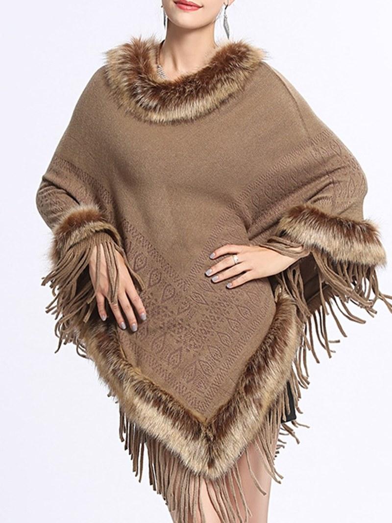 Ericdress Pullover Patchwork Fur Tassel Cape