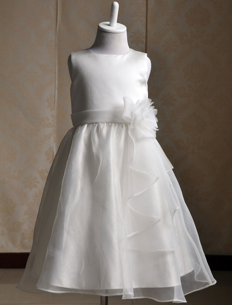 Milanoo Ivory Flower Girl Dress Sash Bows Ruffles Dress