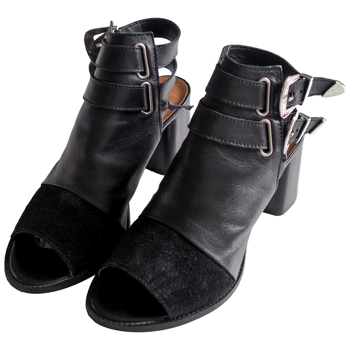 Topshop - Sabots   pour femme en cuir - noir