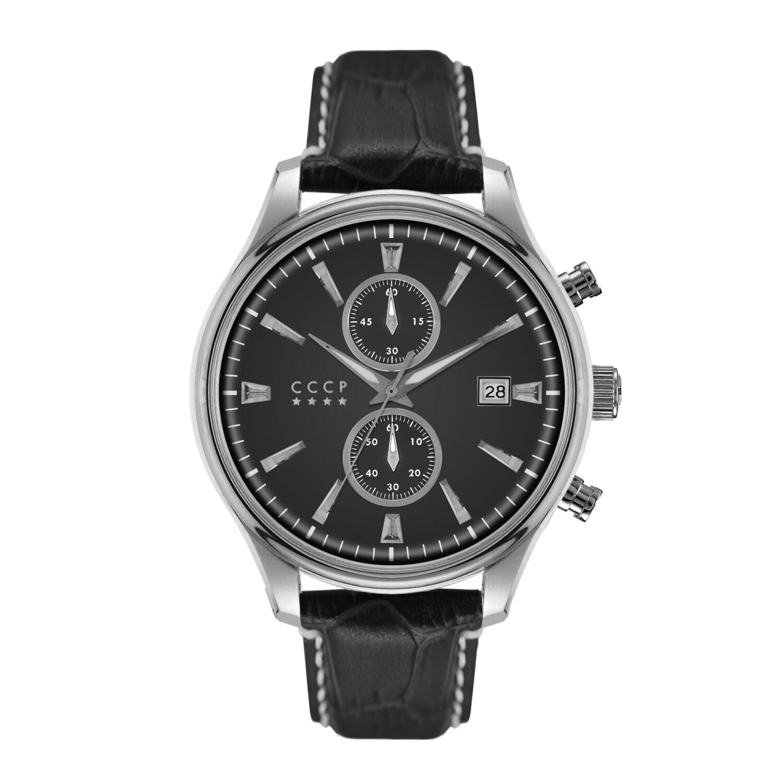 Cccp Men's Sputnik-2 CP-7028-01 Silver Leather Automatic Self Wind Sport Watch
