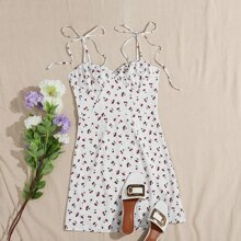 Knot Strap Ruched Bust Cherry Print Slip Dress