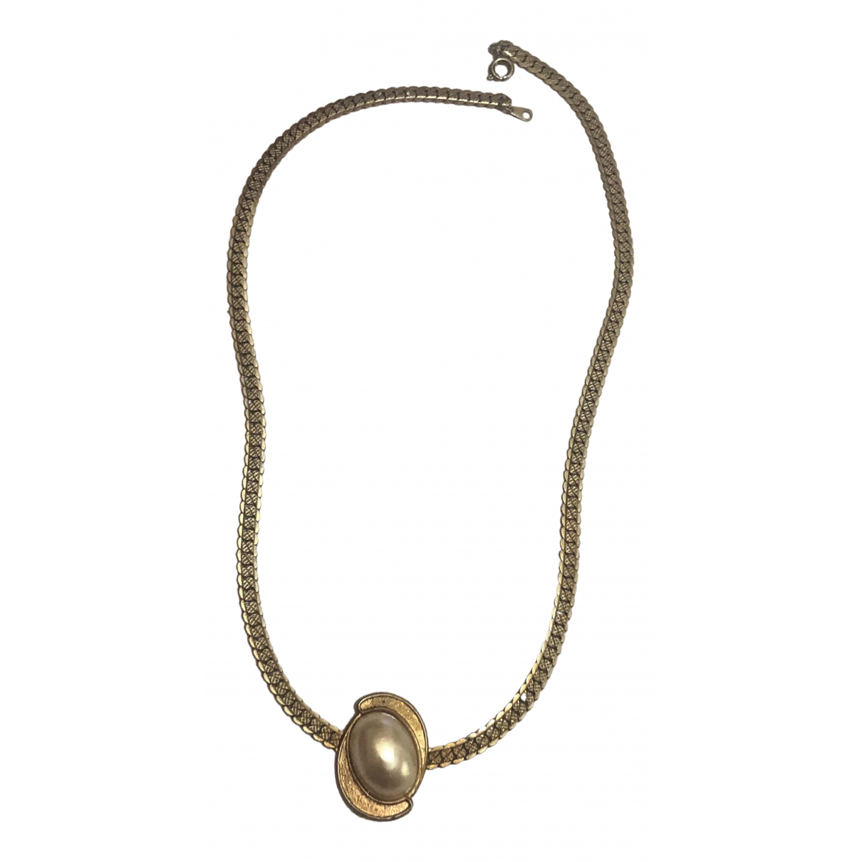 Non Signe / Unsigned Nacre Kette in  Gold Metall