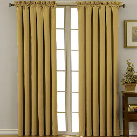 Eclipse Canova Energy Saving Blackout Rod-Pocket Single Curtain Panel, One Size , Yellow