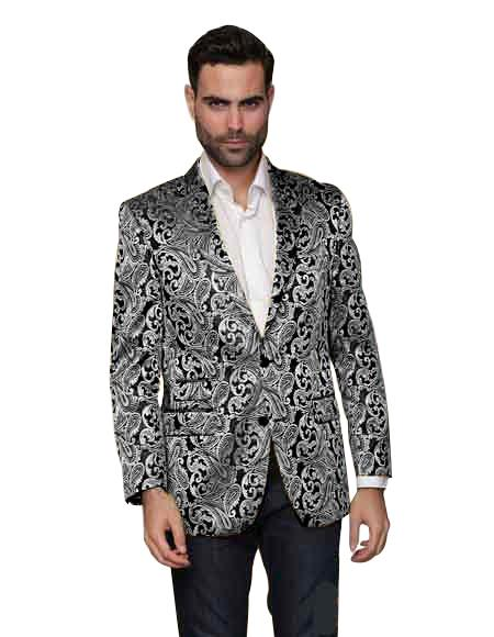 Alberto Nardoni Men's Shiny Matching Fashion Bow Tie Sport Coat Silve
