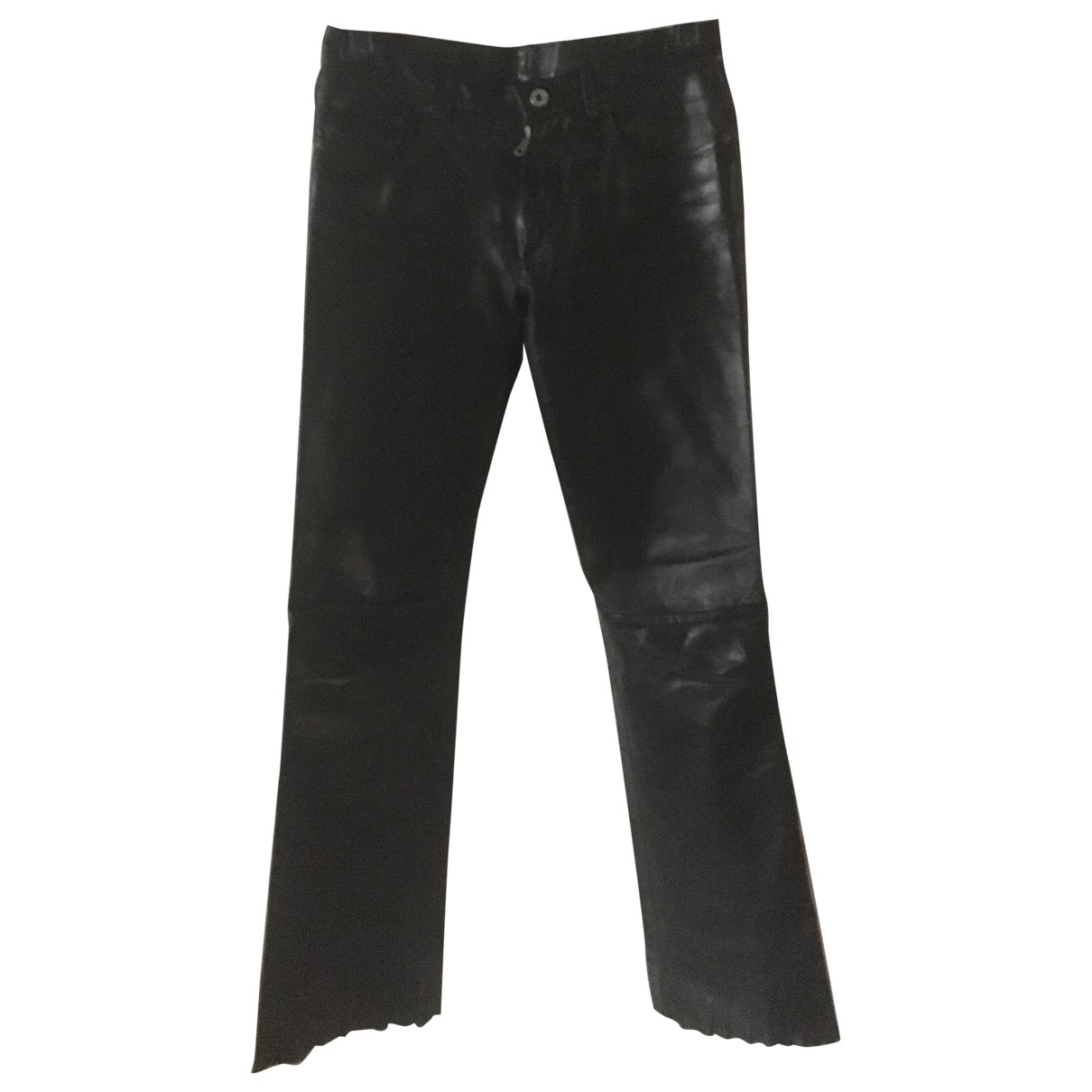 Replay \N Black Leather Trousers for Women 42 IT