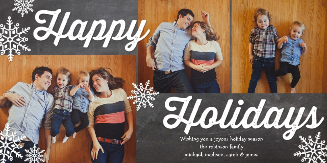 Holiday Photo Cards 4x8 Flat Card Set, 85lb, Card & Stationery -Holiday Rustic Snowflakes