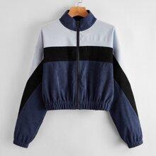 Corduroy Colorblock Zip Up Jacket