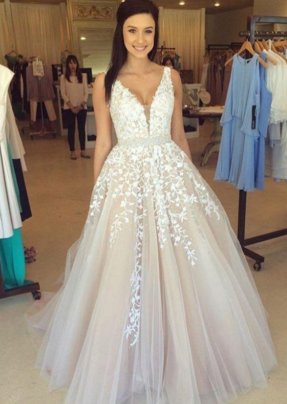 Precioso vestido de noche con cuello en V sin mangas apliques de encaje de tul en linea BA3252