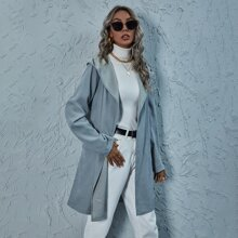 Flap Detail Solid Hooded Coat With Belt