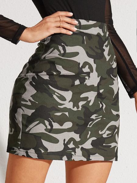 YOINS Army Green Camo Skirt