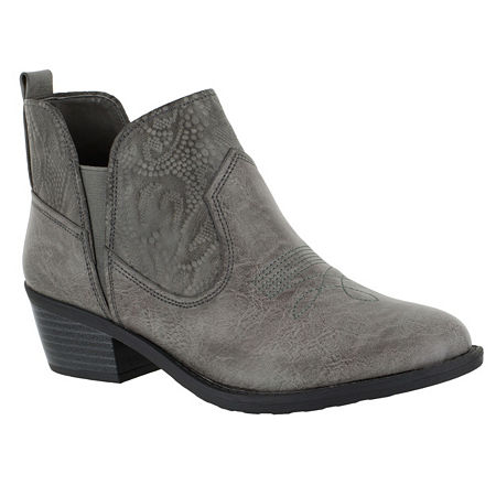 Easy Street Womens Legend Booties Block Heel Narrow Width, 6 Medium, Gray