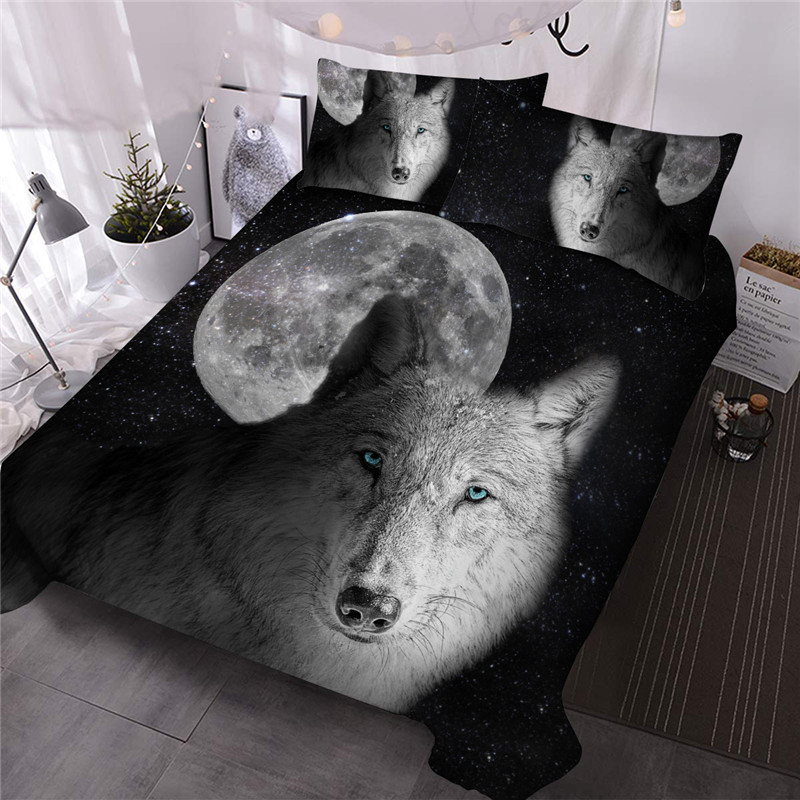 Lonely Wolf Under Moon Comforter Set Three-Piece Set Reactive Printing Polyester Bedding Sets