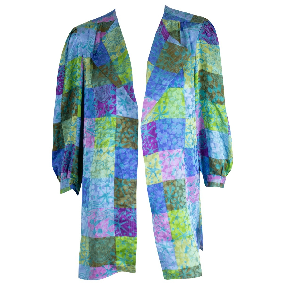 Non Signé / Unsigned Oversize Multicolour Silk jacket for Women 12 UK