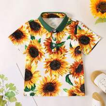 Toddler Boys Sunflower Contrast Floral Polo Shirt