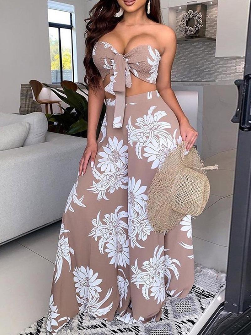 Ericdress Print Fashion Vest Wide Legs Two Piece Sets