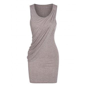 Sleeveless Heathered Draped Overlap Sheath Dress