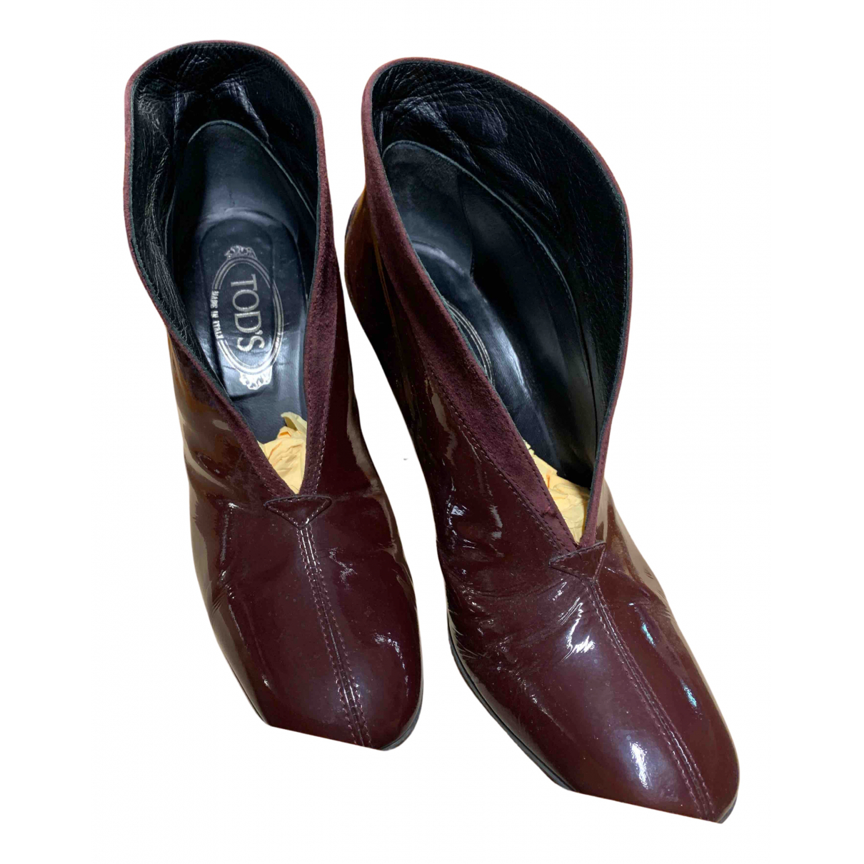 Tod's N Burgundy Patent leather Heels for Women 39 EU