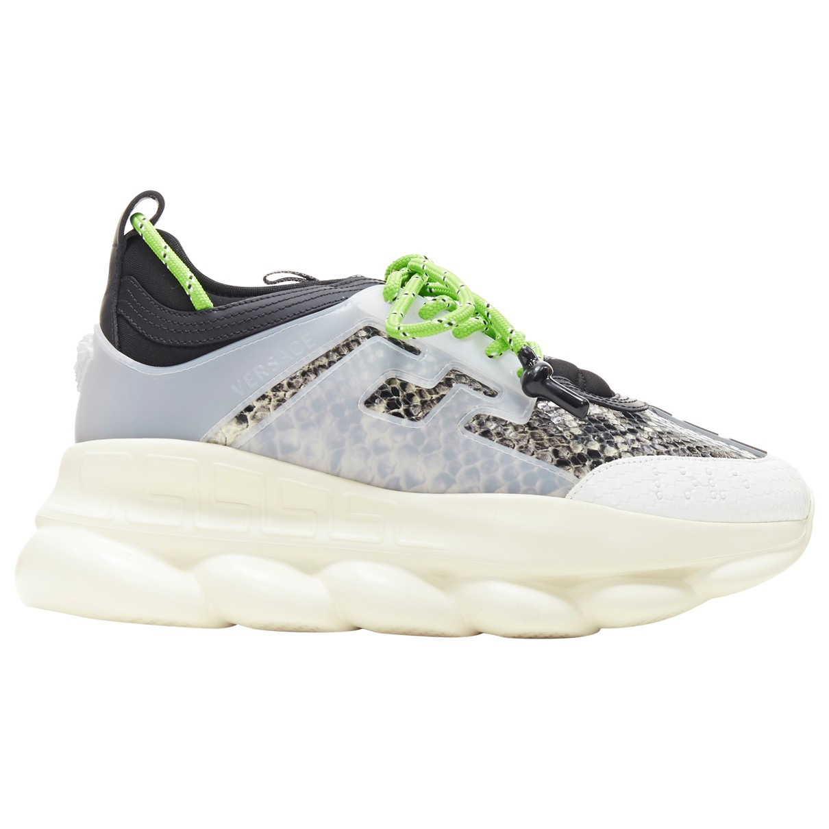Versace Chain Reaction Sneakers in  Grau Leder