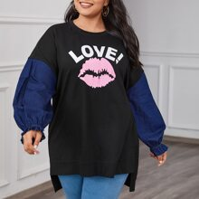 Plus Two Tone Letter and Lip Print Dip Hem Pullover