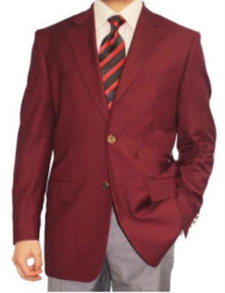 2 Button Burgundy Blazer Sport Coat Mens Cheap