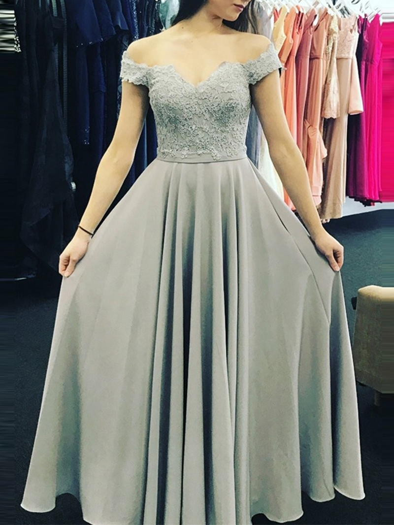 Ericdress Short Sleeves Appliques Off-The-Shoulder Prom Dress