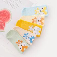5 pares calcetines de niñas con estampado de dibujos animados