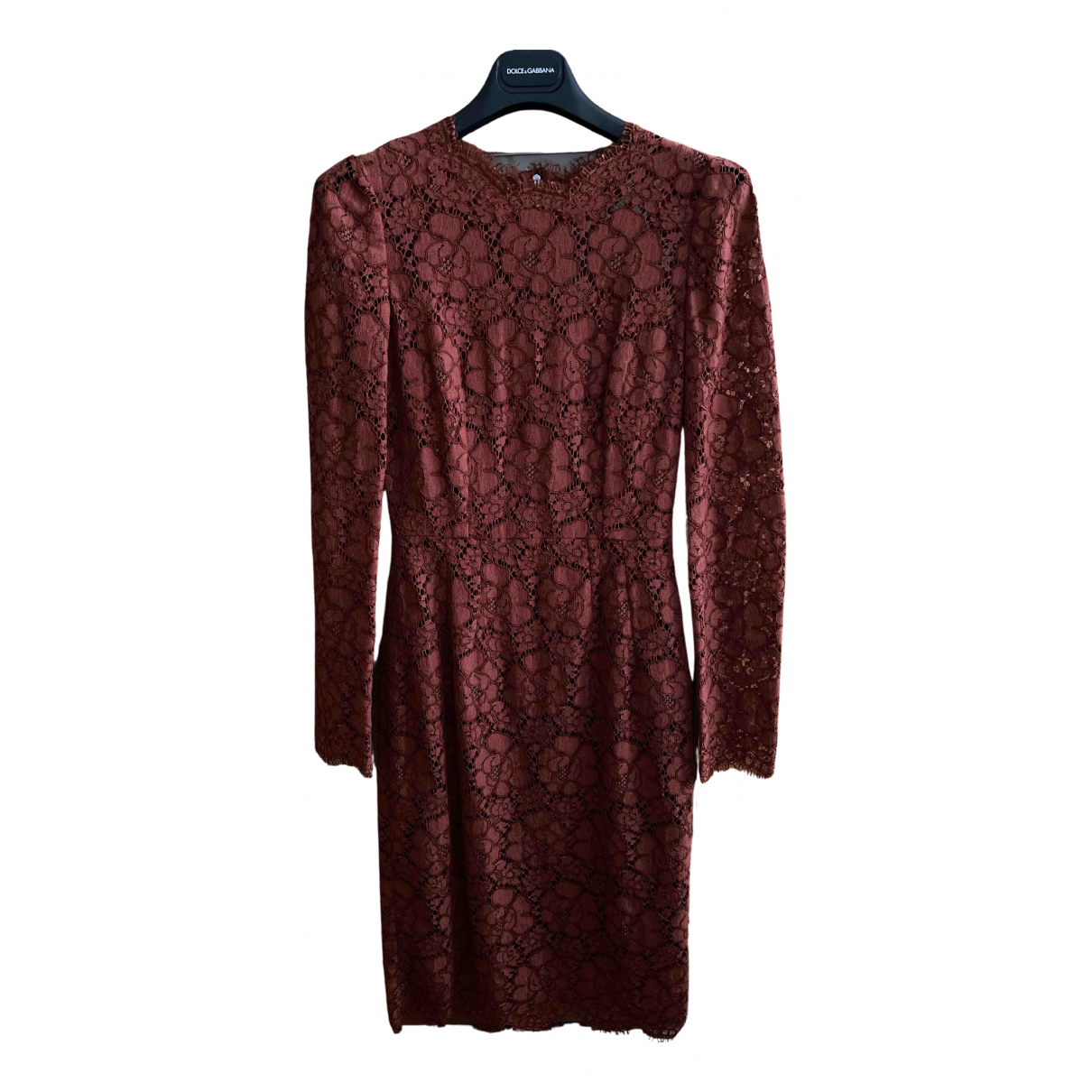 Dolce & Gabbana - Robe   pour femme en dentelle - bordeaux