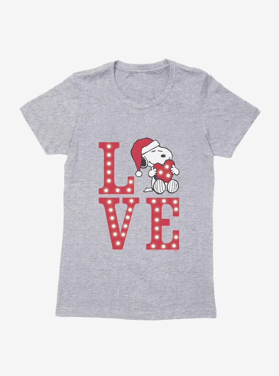 Peanuts Christmas Love Snoopy Heart Womens T-Shirt