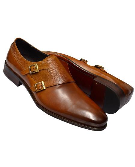 Men's Cognac Burnished Double Monk Strap Calfskin Leather Shoes