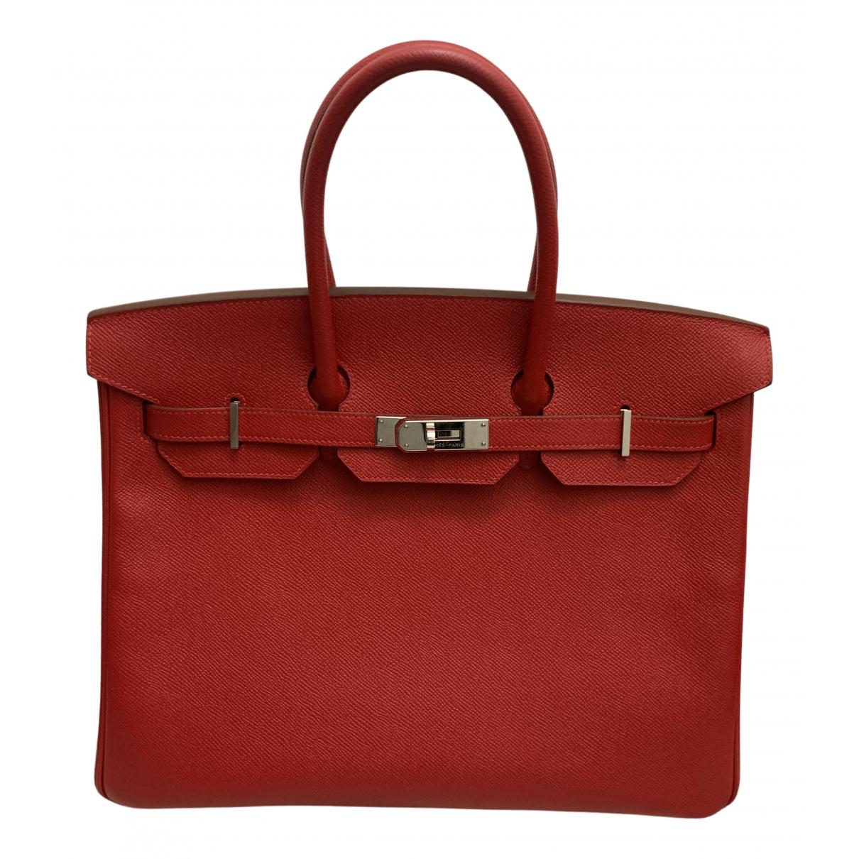 Hermès Birkin 35 Red Leather handbag for Women \N