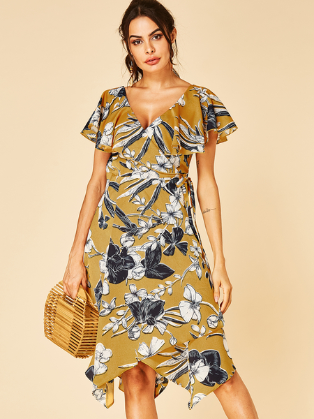 YOINS Yellow Random Floral Print V Neck Ruffle Sleeves Irregular Hem Dress