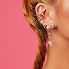 Pendientes con estrella con diamante de imitacion 8 piezas
