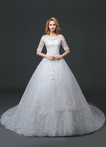 Milanoo Princess Wedding Dress Off The Shoulder Lace Beading Bridal Gown White Half Sleeve Ball Gown Bridal Dress With Cathedral Train