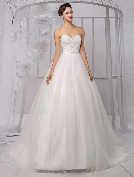 Milanoo Sweatheart Princess/Ball Gown Off-the-Shoulder Bridal Gown With Ruffles Train