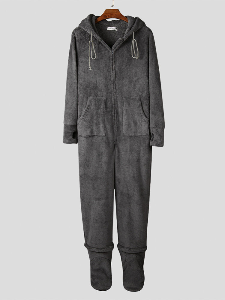 Men Flannel Thick Plain Footed Onesies Loungewear Thermal Thumb Holes Hooded Footed Jumpsuit Pajamas With Socks