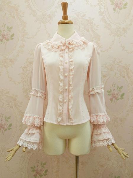 Milanoo Rococo Lolita Blouses Chiffon Bell Sleeve Ruffles Lace Trim Frills Turndown Collar Soft Pink Lolita Top